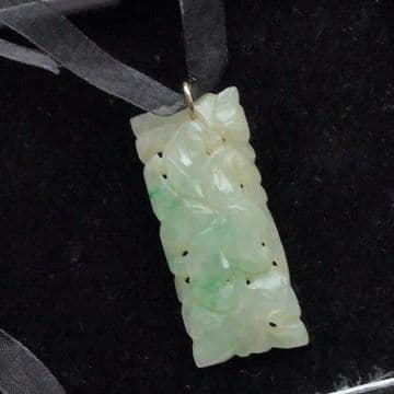 "Jadeite Jade Pendant Art Deco Carved Real Jadeite White Green Tested - 1 3/4"""